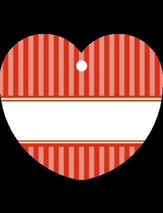 24 Hangtags Vintage Stripes rot Herz 44 x 39,2 mm