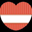 24 Aufkleber Herz Vintage Stripes rot 44 x 39,2 mm