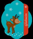 Etiketten Weihnachten Rudolf 47 x 60 mm türkis