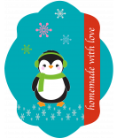 Etiketten Weihnachten  Happy Pinguin 47 x 60 mm