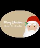 Klebe-Etiketten oval Santa 30 x 20 mm braun