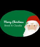 Klebe-Etiketten oval Santa 30 x 20 mm grün