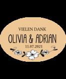Klebe Etiketten oval White Floral 30 x 20 mm