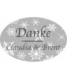 Klebe-Etiketten oval Snowflakes 30 x 20 mm grau