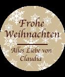 Klebe-Etiketten rund Snowflakes 30 mm braun
