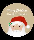 Klebe-Etiketten rund Santa 30 mm braun