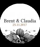 Klebe Etiketten rund Blossoms 30 mm schwarz
