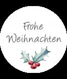 Klebe-Etiketten rund Rustic Christmas 30 mm weiss