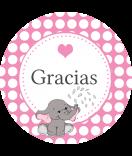 Baby Etiketten rund Elefant 30 mm rosa
