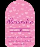Anhänge-Etiketten Tiny Hearts 40 x 64 mm rosa