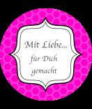 Klebe-Etiketten rund Frames 68 mm pink