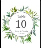Greenery Flaschenetiketten mit Tischnummern 100 x 123 mm