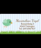 wasserfeste Aufkleber mit Namen Vogel mint 50 x 25