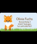 wasserfeste Aufkleber mit Namen Fuchs 50 x 25 mm