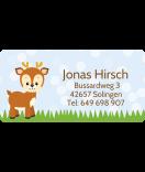 wasserfeste Aufkleber mit Namen Hirsch 50 x 25 mm