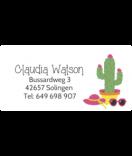wasserfeste Aufkleber mit Namen Kaktus 50 x 25 mm