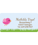 wasserfeste Aufkleber mit Namen Vogel rosa 50 x 25