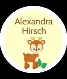 runde Namensetiketten klein wasserfest Hirsch 25 mm