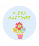 Mini Namensaufkleber rund wasserfest Blume 25 mm