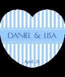 Aufkleber Herz Candy Stripes 44 x 39 mm blau