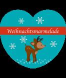 Etiketten Weihnachten Rudolf Rentier Herz türkis