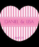Aufkleber Herz Candy Stripes 44 x 39 mm rosa