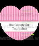 Herz-Aufkleber Vintage Stripes rosa 44 x 39,2