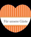 Aufkleber Herz Vintage Stripes orange 44 x 39,2