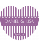 Aufkleber Herz Candy Stripes 44 x 39 mm lavendel