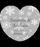 Herzaufkleber Snowflakes grau 44 x 39 mm