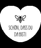 Aufkleber Herz Easy Bee 44 x 39 mm weiss