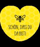 Aufkleber Herz Easy Bee 44 x 39 mm gelb