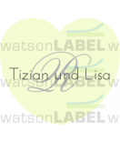 Aufkleber Hochzeit Herz mit Monogramm 44 x 39, 2 mm