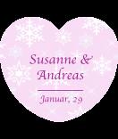 Herzaufkleber Snowflakes rosa 44 x 39 mm