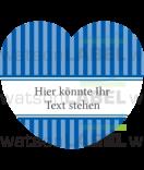 Herz-Aufkleber Vintage stripes blau 44 x 39,2