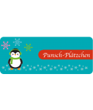 Etiketten Weihnachten Happy Pinguin 50 x 20 mm türkis
