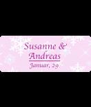 Klebe-Etiketten Snowflakes 50 x 20 mm rosa