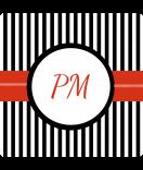 Klebe-Etiketten Candy Stripes schwarz 50 x 50 personalisieren