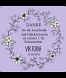 Klebe-Etiketten White Floral 50 x 50 mm