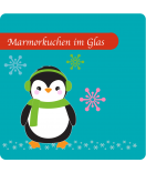 Etiketten Weihnachten Happy Pinguin 50 x 50 mm türkis