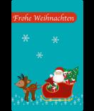 Weihnachtsetiketten Santa 55 x 85 mm türkis