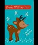 Weihnachtsetiketten Rudolf 55 x 85 mm türkis