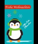 Weihnachtsetiketten Happy Pinguin 55 x 85 mm türkis