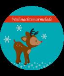 Etiketten Weihnachten Rudolf Rentier 60 mm rund türkis