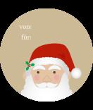 Klebe-Etiketten rund Santa 60 mm braun
