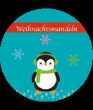 Etiketten Weihnachten rund Happy Pinguin 60 mm türkis