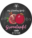 Granatapfel Etiketten rund Farmers Market Chalkboard 60 mm
