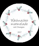Klebe-Etiketten rund Rustic Christmas 60 mm weiss
