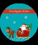 Klebe-Etiketten rund Santa 60 mm türkis