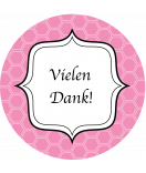 Klebe-Etiketten rund Frame 60 mm rosa